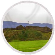 Saltire And The Ruins Of The Urquhart Castle Round Beach Towel