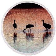 Sandhill Cranes Round Beach Towel