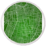 Santiago Street Map - Santiago Chile Road Map Art On Colored Bac Round Beach Towel