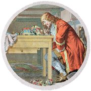 Scene From Gullivers Travels Round Beach Towel by Frederic Lix