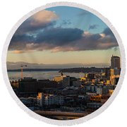 Seattle Dusk Round Beach Towel