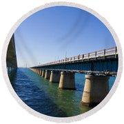 Seven Mile Bridge Florida Keys Round Beach Towel