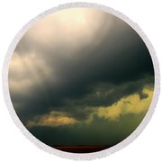 Severe Cells Over South Central Nebraska Round Beach Towel