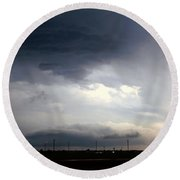 Severe Storm Cells Developing Over South Central Nebraska Round Beach Towel