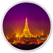 Shwedagon Paya - Yangoon Round Beach Towel