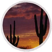 Silhouetted Saguaro Cactus Sunset At Dusk Arizona State Usa Round Beach Towel