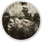 Sleeping Woman, C1900 Round Beach Towel