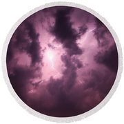 Small But Eruptive Cell North Of Kearney Round Beach Towel