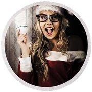 Smart Female Santa Claus With Christmas Idea Round Beach Towel
