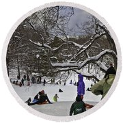 Snowboarding  In Central Park  2011 Round Beach Towel
