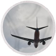 Southwest Airplane Boeing 737  Picture D Round Beach Towel