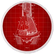 Space Capsule Patent 1959 - Red Round Beach Towel