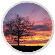 Spectacular Sunset Epsom Downs Surrey Uk Round Beach Towel