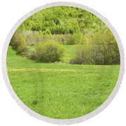 Spring Farm Landscape In Maine Round Beach Towel by Keith Webber Jr