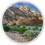 Spring Storm Over Split Mountain Dinosaur National Monument Round Beach Towel