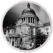 St Pauls Cathedral London Art Round Beach Towel by David Pyatt