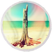 Standing Alone Round Beach Towel