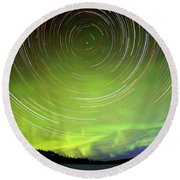 Star Trails And Northern Lights In Night Sky Round Beach Towel