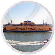 Staten Island Ferry Round Beach Towel