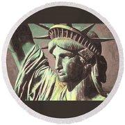 Statue Liberty Round Beach Towel