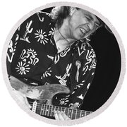 Guitarist Stevie Ray Vaughan Round Beach Towel