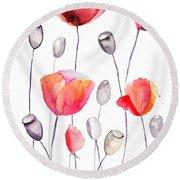 Stylized Poppy Flowers Illustration  Round Beach Towel
