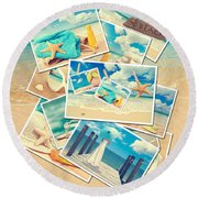 Summer Postcards Round Beach Towel by Amanda Elwell