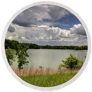 3-summer Time At Moraine View State Park Round Beach Towel