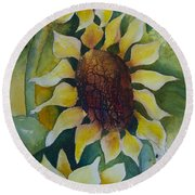 3 Sunflowers Round Beach Towel