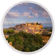 Sunrise Over Roussillon Round Beach Towel