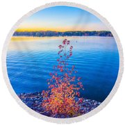 Sunset At Lake Wylie Round Beach Towel