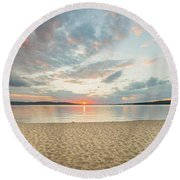 Sunset On South Bay, Lake Superior Round Beach Towel