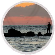 Sunset On The Beach Round Beach Towel