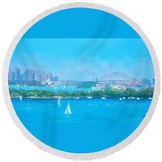 Sydney Harbour And The Opera House By Jan Matson Round Beach Towel