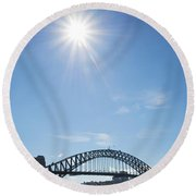 Sydney Harbour Bridge In Australia  Round Beach Towel
