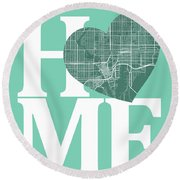 Tampa Street Map Home Heart - Tampa Florida Road Map In A Heart Round Beach Towel