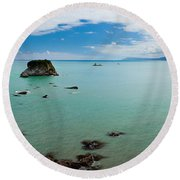 Tasman Sea At West Coast Of South Island Of Nz Round Beach Towel