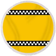 Taxi Background Round Beach Towel