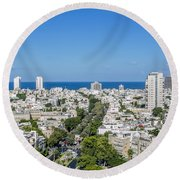 Tel Aviv Israel Elevated View Round Beach Towel