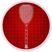 Tennis Racket Patent 1887 - Red Round Beach Towel