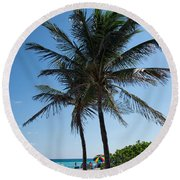 The Beach In Hollywood Florida Round Beach Towel