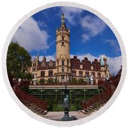 The Castle Of Schwerin Round Beach Towel