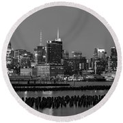 The Empire State Building Pastels Round Beach Towel