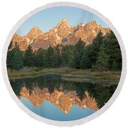 The Grand Tetons Schwabacher Landing Grand Teton National Park Round Beach Towel
