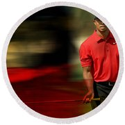 Tiger Woods Round Beach Towel by Marvin Blaine