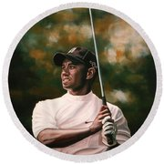 Tiger Woods  Round Beach Towel