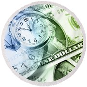 Time Is Money Round Beach Towel by Les Cunliffe