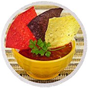 Tortilla Chips And Salsa Round Beach Towel by Elena Elisseeva