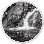 True's Brook Gorge Water Fall Round Beach Towel