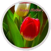 3 Tulips For Mother's Day Round Beach Towel